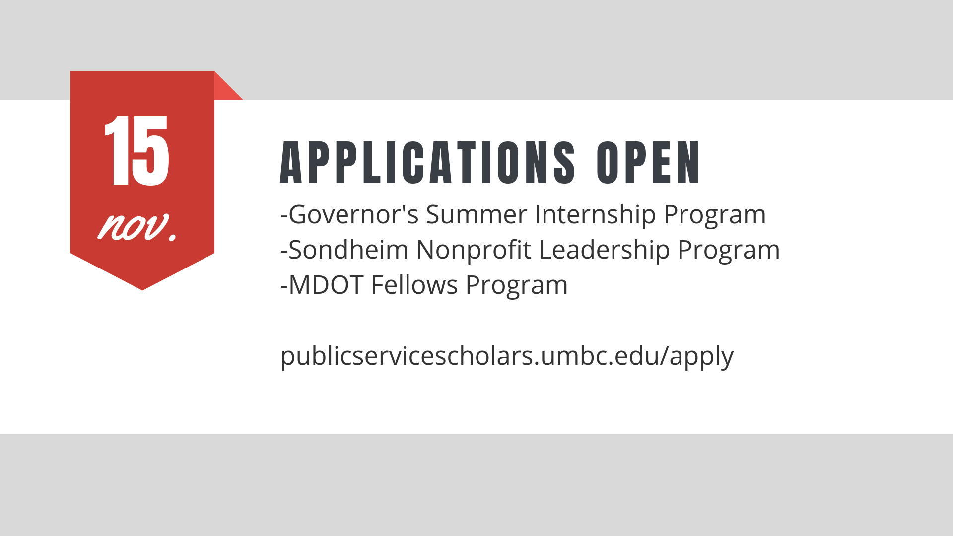 Applications Open November 15