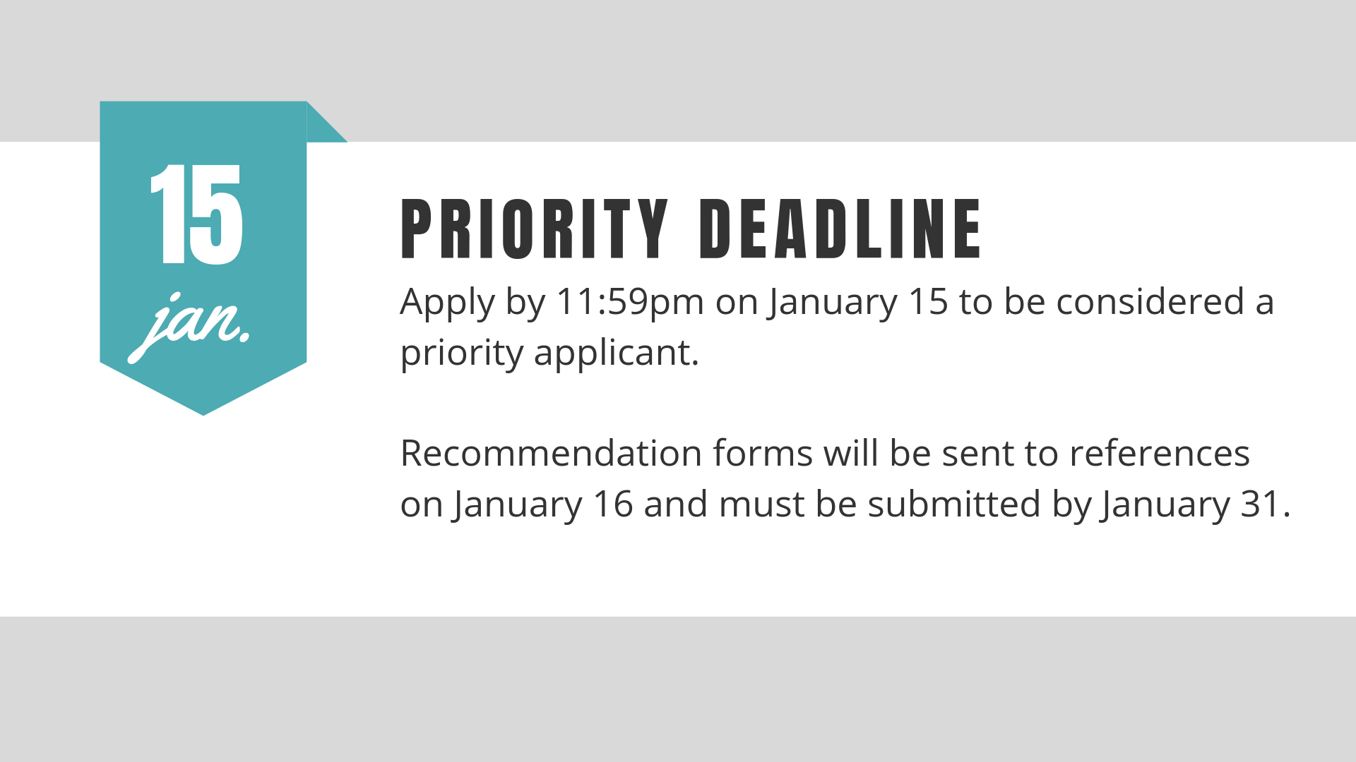 Priority Deadline is January 15