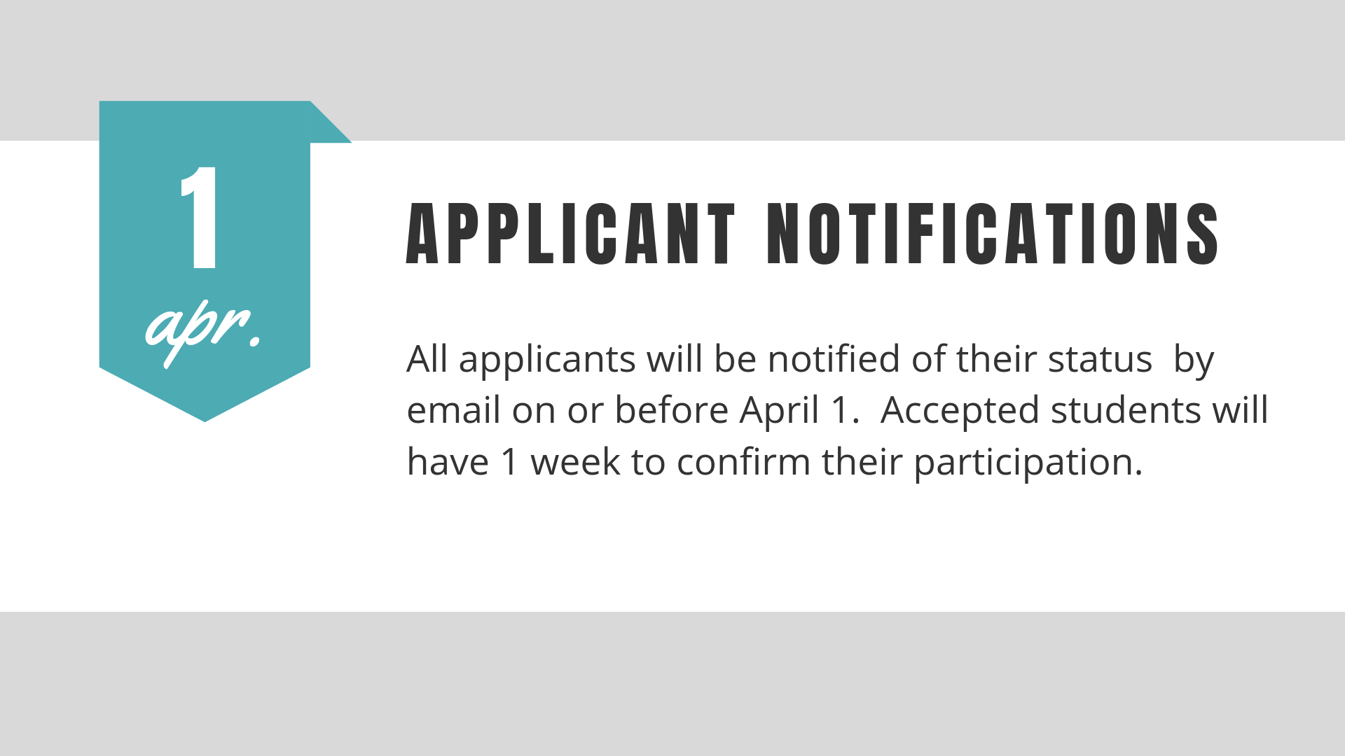All non-priority applicants will be notified on or before April 1